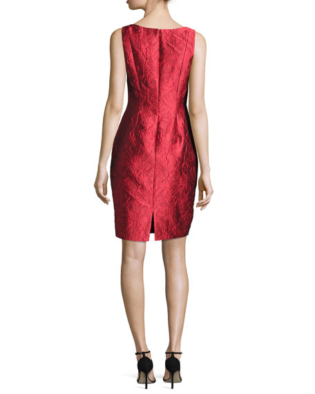 Sleeveless Floral Brocade Sheath Dress, Red