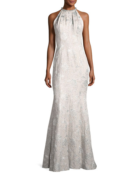 Sleeveless Metallic Brocade Gown, Silver