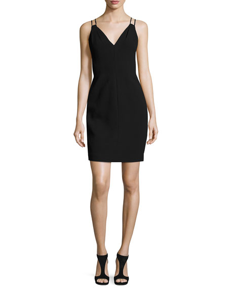 Sleeveless Velvet Sheath Dress, Black