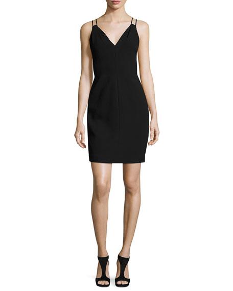 Carmen Marc Valvo Sleeveless Velvet Sheath Dress, Black