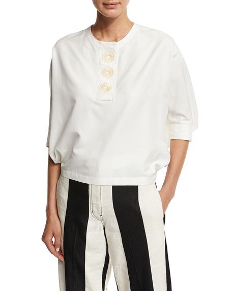Embroidered 3/4-Sleeve Cropped Blouse, White