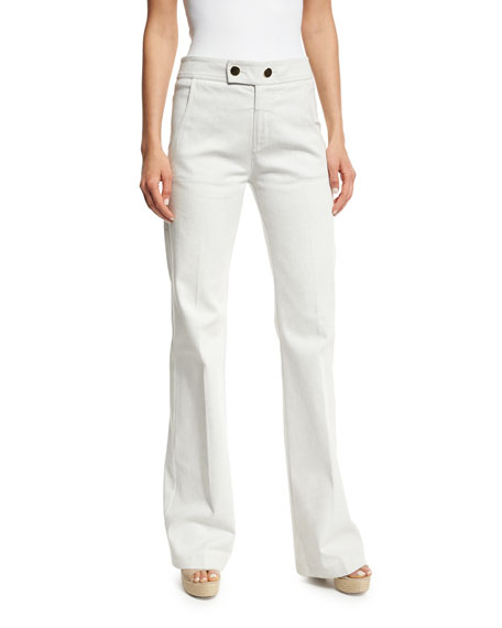Derek Lam Unbleached Button-Tab Jeans, White
