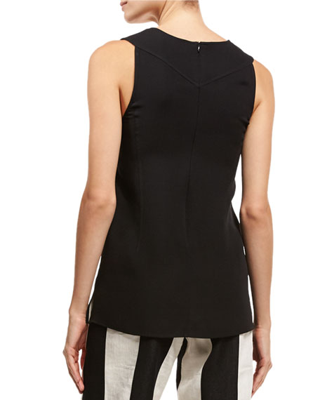 Tassel V-Neck Sleeveless Blouse, Black