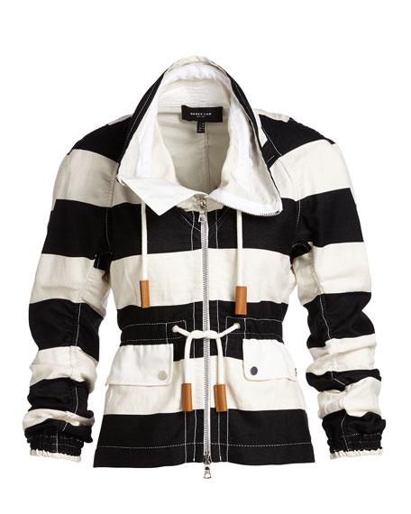 Striped Cropped Anorak Jacket, Multi