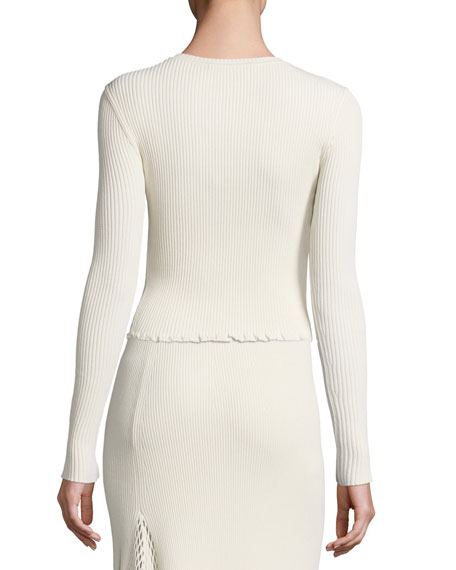 Ribbed Crewneck Slim Sweater, Neutral