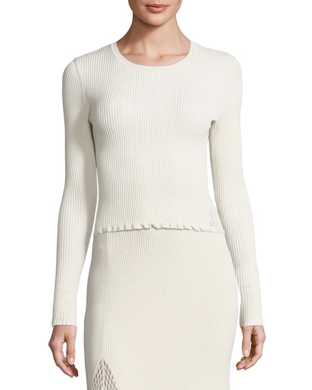 Derek Lam Ribbed Crewneck Slim Sweater, Neutral