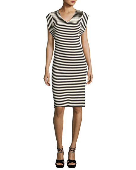 Derek Lam Striped V-Neck Sheath Dress, Multi