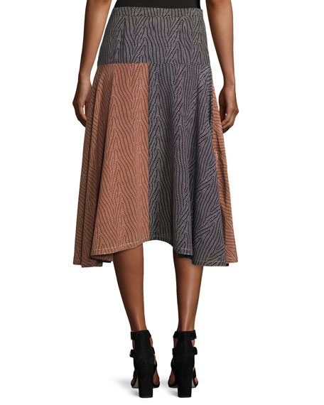 Broken-Dash A-Line Midi Skirt, Multi