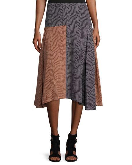 Derek Lam Broken-Dash A-Line Midi Skirt, Multi