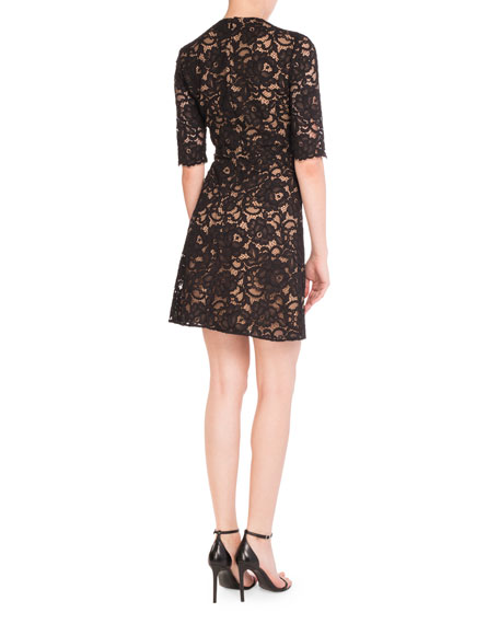 Lace V-Neck Half-Sleeve Dress w/ Bow, Sand/Black