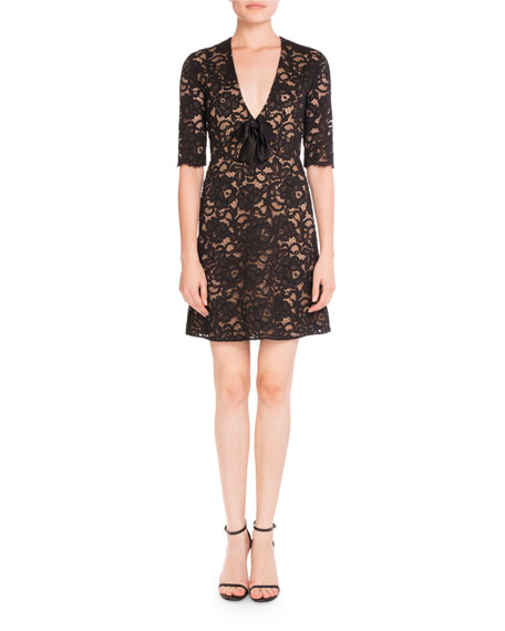 Lace V-Neck Half-Sleeve Dress w/ Bow, Sand/Black
