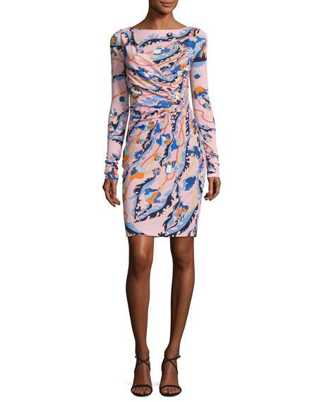 Printed Long-Sleeve Boat-Neck Dress, Pink/Multi