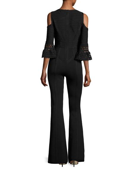 Cold-Shoulder Bandage Knit Jumpsuit, Black
