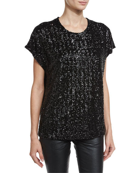 Sequined Loose-Fit Tee, Black