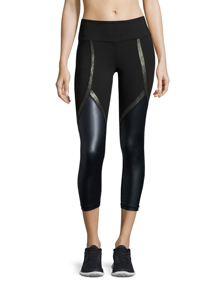 Vimmia Chance Coated-Panel Capri Performance Leggings, Navy