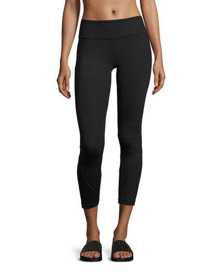Shine Vee Paneled Capri Leggings, Black
