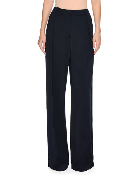 Slouchy Pleated-Front Wide-Leg Pants, Navy