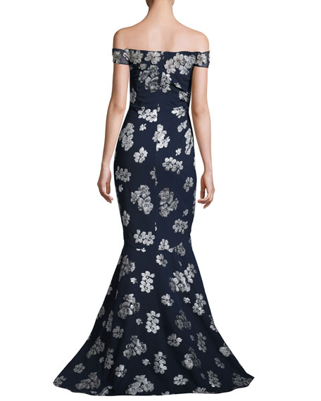 Ruched Off-the-Shoulder Floral Ponte Gown, Blue/Silver
