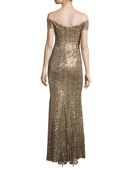 Image 2 of 2: Off-the-Shoulder Sweetheart Sequin Gown, Gold