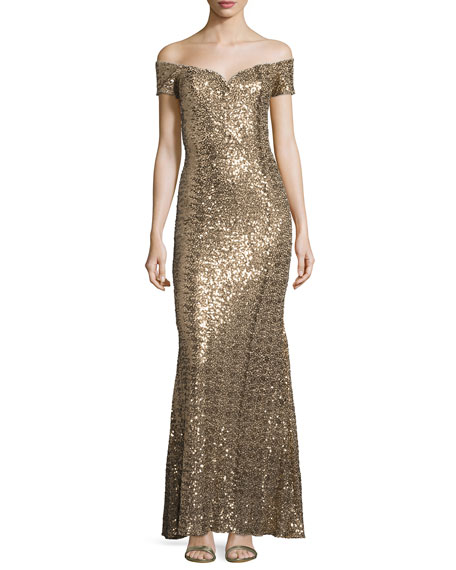 Image 1 of 2: Off-the-Shoulder Sweetheart Sequin Gown, Gold