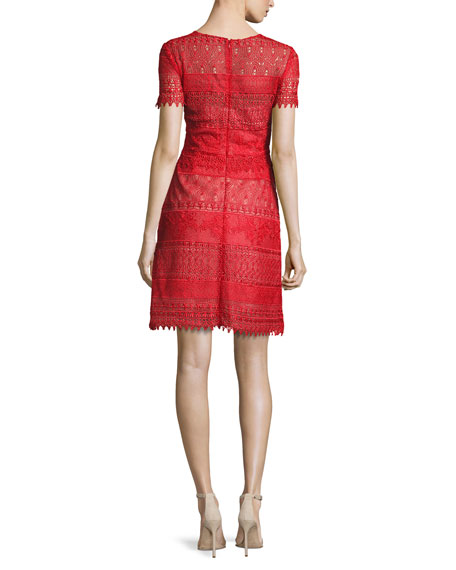 Short-Sleeve Macramé Lace A-Line Dress, Red