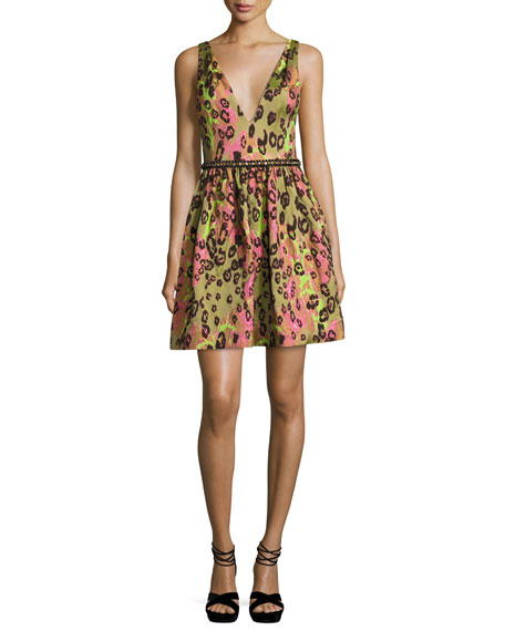 Marchesa Notte Sleeveless Animal Jacquard Cocktail Dress, Green