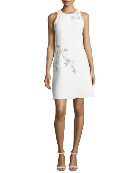 Marchesa Notte Sleeveless Embroidered Ponte Shift Dress, Ivory