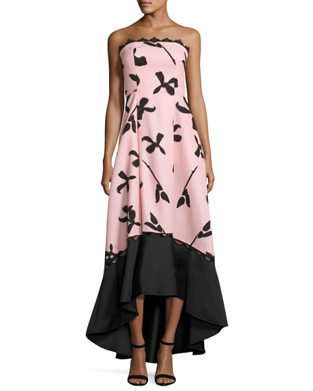 Sachin & Babi Strapless Floral Faille High-Low Gown,