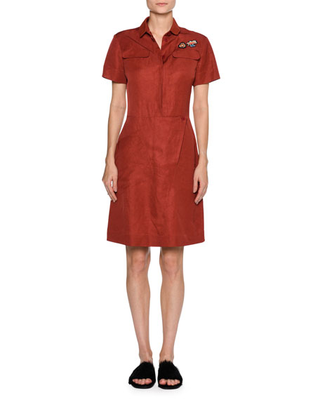 Patch Toile Short-Sleeve Shirtdress, Dark Red