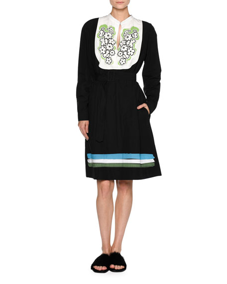 Floral-Bib Long-Sleeve Belted Dress, Black/White