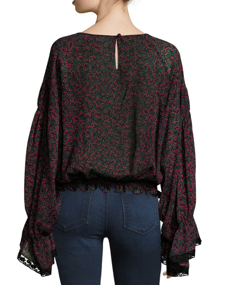 Cherry-Print Pintuck Blouse with Bell Sleeves