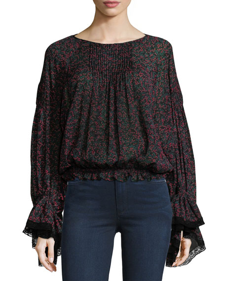 Chloe Cherry-Print Pintuck Blouse with Bell Sleeves