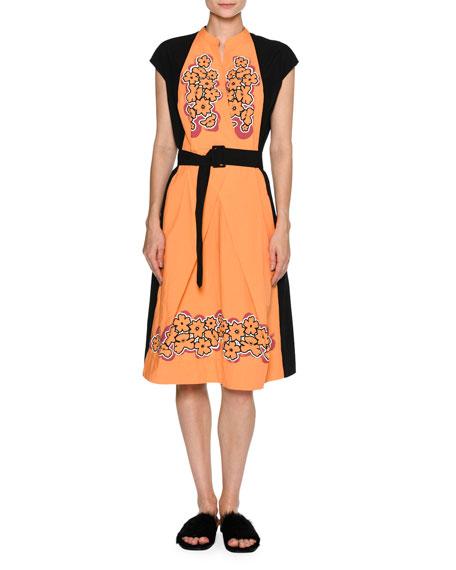 Tomas Maier Floral Cap-Sleeve Belted Dress, Black/Orange