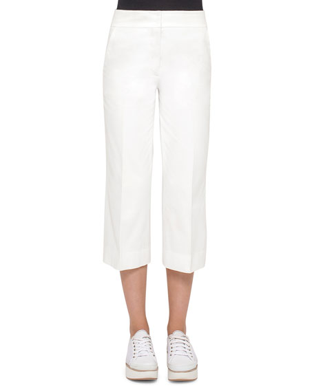 Akris punto Madison Straight-Leg Cropped Pants, Cream