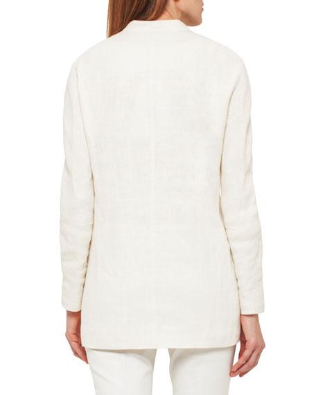 Linen Jacket w/Satin Lapel, White/Green