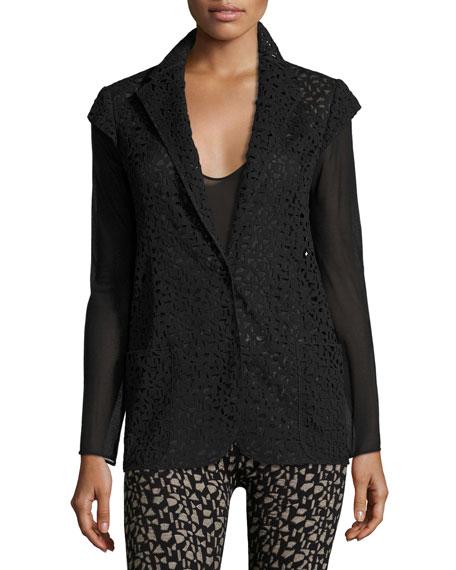 Laser-Cut Knit-Back Jacket, Black