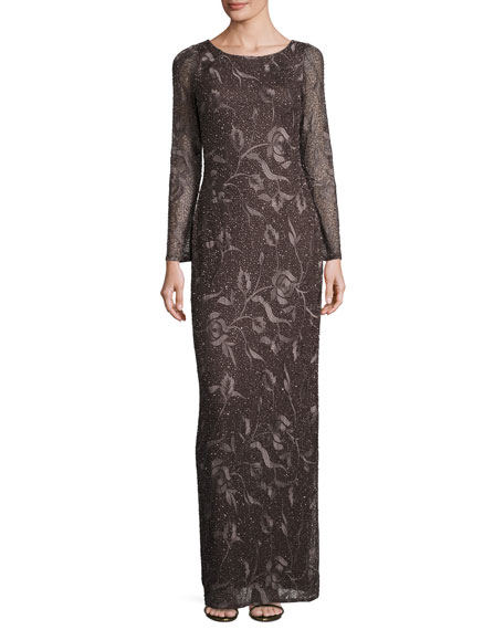 Aidan Mattox Long-Sleeve Beaded Floral Column Gown, Espresso