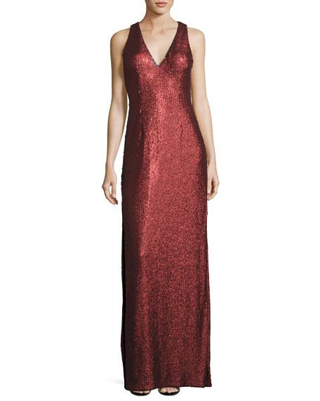 Aidan Mattox Sleeveless Sequin Column Gown, Crimson