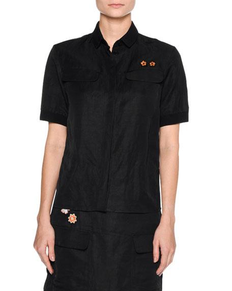 Floral-Patch Short-Sleeve Blouse, Black