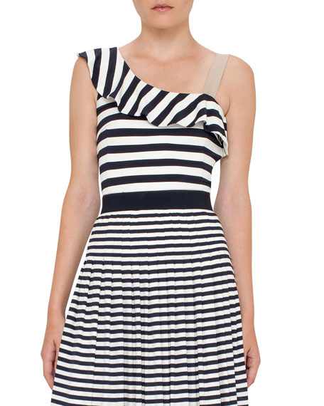 Akris punto Striped Ruffled One-Shoulder Top, Navy/Cream