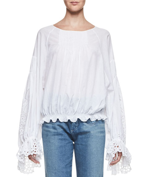 Chloe Pineapple-Embroidered Cotton Blouse, White