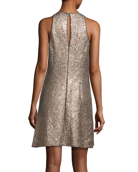 Sleeveless Sequin Swing Dress, Gold