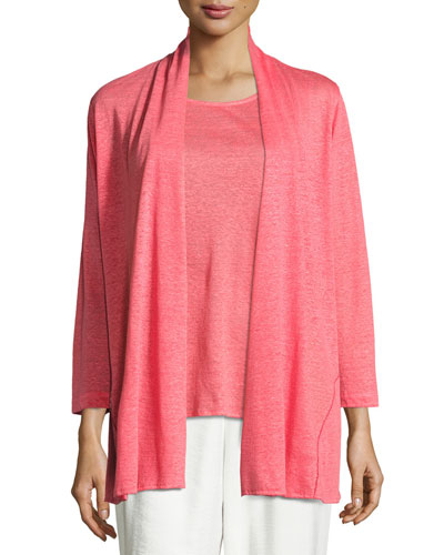 Linen Knit Midi Cardigan, Coral Online Cheap