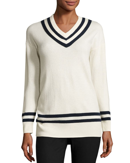 FRAME Varsity V-Neck Sweater, Blanc/Navy