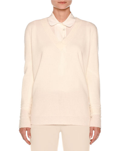V-Neck Cashmere-Blend Sweater, Ivory