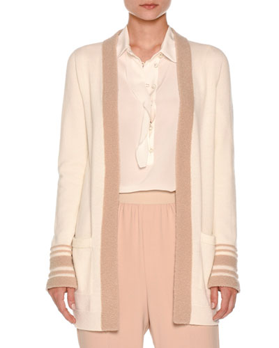 Striped-Cuff Boucle Cardigan, Ivory/Nude