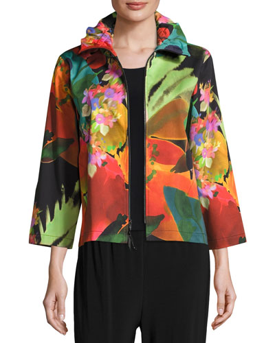 Garden Party Stretch Zip-Front Jacket