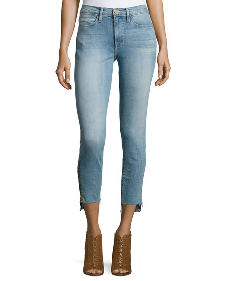 FRAME Le High Skinny Stagger-Zip Jeans, Jackson