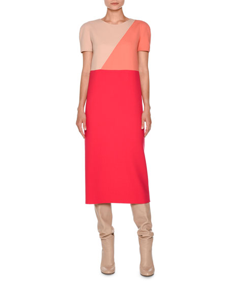 Agnona Short-Sleeve Geometric Midi Dress, Hibiscus/Nude/Coral