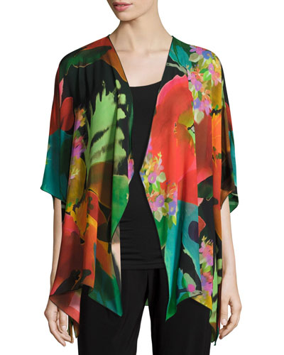 Garden Party Georgette Mid-Length Cardigan, Plus Size